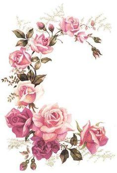 Fashion and Lifestyle Decoupage Vintage, Decoupage Paper, Vintage Diy, Flower Art Images, Decoration Entree, Decoupage Printables, Paper Crafts Origami, Arte Floral, Floral Border