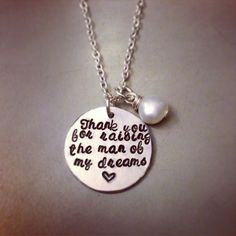 """thank you for raising the man of my dreams"" mother of the groom necklace"