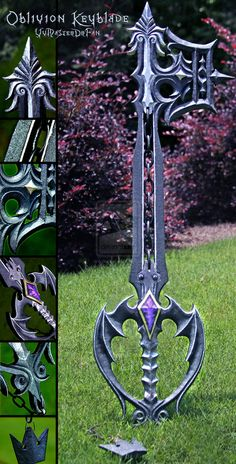 Oblivion Keyblade v2.0 by vvmasterdrfan on DeviantArt (http://www.deviantart.com/art/Oblivion-Keyblade-v2-0-244779256, pinned 19/03/2015). Hand carved from single sheet of pine wood, with super glued chain and then hand painted.