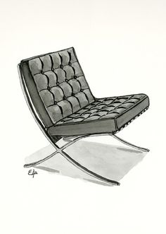 Barcelona Chair Watercolor Painting. I painted this watercolor last year andis part of my classic furniture collection and you can buy it in my store  http://fineartamerica.com/featured/barcelona-chair-watercolor-painting-eugenia-alvarez.html #BarcelonaChair #industrialdesign  #MiesvanderRohe