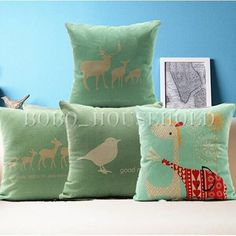 Cute Animal Nordic North Europe Style Linen Pillow Case Cushion Cover Home Decor #Unbranded  5.99 free shpng