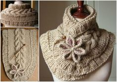 Knitted Moon Flower Cowl Scarf FREE Pattern