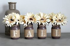 This is a custom designed & hand-painted set of 4 pint size Mason Jars wrapped in burlap to spell out FALL . This listing is for two sets. 1.