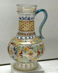 A century crystal jug Canteen Bottle, Project Table, Tudor Era, Painted Cups, Antique Glassware, Tudor History, Window Art, Renaissance Art, 16th Century