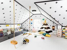 Get inspired with kids bedroom, kids' playroom ideas and photos for your home refresh or remodel. Wayfair offers thousands of design ideas for every room in every style. Attic Playroom, Playroom Design, Attic Rooms, Kids Room Design, Nursery Design, Attic Office, Attic Bathroom, Indoor Playroom, Children Playroom