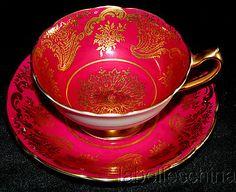 Paragon English TEA CUP AND Saucer HPT Stunning RED Amazing Gold Gilt Teacup B4 | eBay