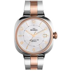 Women's Shinola 'Gomelsky' Bracelet Watch, 36Mm (£650) ❤ liked on Polyvore featuring jewelry, watches, sapphire crystal watches, quartz movement watches, polish jewelry, bracelet watch and square watches
