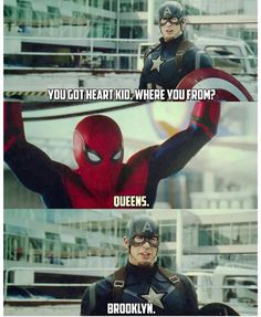 The first sight of spiderman and captain America - Marvel Universe Funny Marvel Memes, Marvel Jokes, Dc Memes, Avengers Memes, Marvel Universe, Marvel Dc Comics, Marvel Avengers, Spiderman Marvel, Marvel Heroes