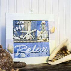 Holen Sie sich den Sommer oder den Urlaub schon jetzt nach Hause. Mit dieser Sommerdeko bekommen Ihre Muscheln einen besonderen Platz. Decoupage, Polaroid Film, Frame, Home Decor, Paper, Good Times, Shells, Picture Frame, Vacation