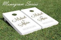 Our custom wedding cornhole games are perfect for your wedding reception, dinner rehersal, wedding shower and all your outdoor events before and after your ...