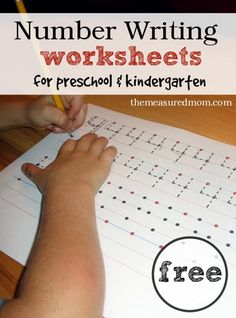 Free handwriting pages for writing numbers   3 levels!