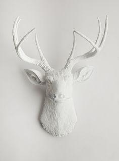 White Deer Head - The Templeton - White Resin Deer Head- White Deer Antlers Mounted- Faux Head Wall Mount. $94.99, via Etsy.