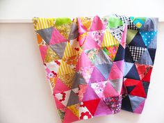 Triangle patchwork quilt top