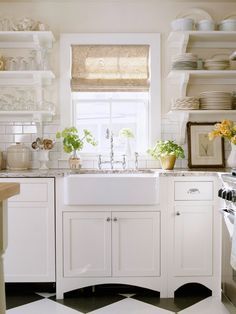 curtains   White Kitchen. Open Shelves. Farm Sink.