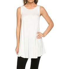 42POPS Off-White Scoop Neck Tunic ($13) ❤ liked on Polyvore featuring plus size women's fashion, plus size clothing, plus size tops, plus size tunics, scoop neck sleeveless top, off white tops, sleeveless tunic, rayon tops and layered tops