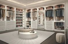 Personal, flexible, trendy walk-in closet design. Every person loving style & design, desires in her own home a walk-in closet. Francesco Pasi knows it well. Walk In Closet Design, Bedroom Closet Design, Master Bedroom Closet, Closet Designs, Closet Rooms, Big Closets, Dream Closets, Luxury Homes Dream Houses, Dream House Interior