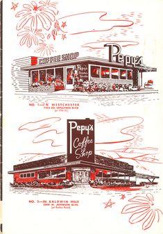 illustration of actual building for pizza box? Art of the Menu: A Vintage Collection Vintage Menu, Vintage Tiki, Vintage Labels, Vintage Ads, Vintage Designs, Vintage Restaurant, Menu Restaurant, Menu Design, Design Art