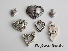 Tibetan Heart Charms / Pendants  Antique Silver by SkylineBeads, $2.75