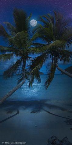 Super-moon over Maho Bay Beach on St John, US Virgin Islands