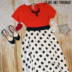 This polka dot LuLaRoe Lucy skirt is my all time favorite! It is perfect with a LuLaRoe Classic Tee!  LuLaRoe Emily Purrenhage https://www.facebook.com/groups/LuLaRoeEmilyPurrenhage/