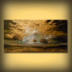 Gold landscape painting gold bedroom wall art by mattsart on Etsy