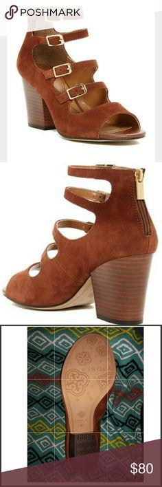 "ISOLA  Tabacco Vanida Heel Beautiful brown suede open toe chucky stacked heels.  True to size.  Aprox. 3"" Heel Material: Suede upper, manmade sole Rear zip closure ISOLA Shoes Heels"