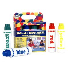 Do-A-Dot 4-Pack Rainbow (washable) [HW1354] - Do-A-Dot Art is the no-mess, fun and easy way for kids of all ages to create fabulous art work. Just remove the cap and start 'dotting' on paper! Use the markers for just about anything, from painting pictures, creating dot to dot activities, or tracing lines! There are no