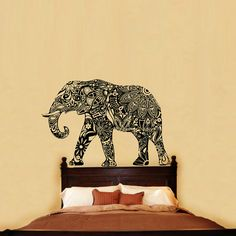 Animal Wall Decals Indian Elephant Floral Patterns Mandala Decal Tribal  Buddha Ganesh Vinyl Sticker Home Decor Murals Bedroom Dorm V1072 | Indian  Elephant