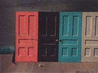 Gertrude Abercrombie, Demolition doors, 1957. Note the black cat on the left edge of the door.