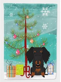 Caroline's Treasures Merry Christmas Tree Wire Haired Dachshund 2-Sided Garden Flag