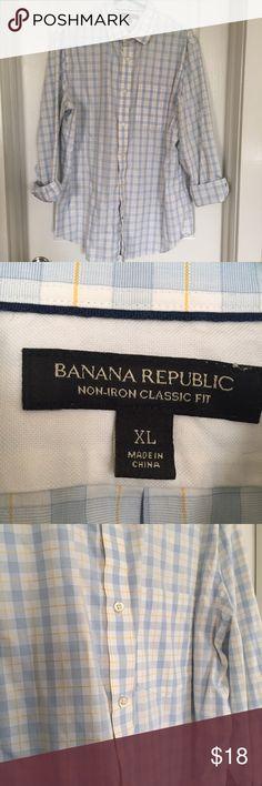 EUC Banana Republic Button down dress shirt EUC classic fit, non-iron Banana Republic Dress shirt. Normal wear and wash, no flaws. Banana Republic Shirts Dress Shirts