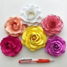 PDF Tiny Rose 3 Paper Flower 6 Different sizes Trace and   Etsy How To Make Paper Flowers, Paper Flowers Craft, Paper Flower Wall, Paper Flower Backdrop, Flower Crafts, Fabric Flowers, Paper Crafts, Paper Roses, Leaf Template