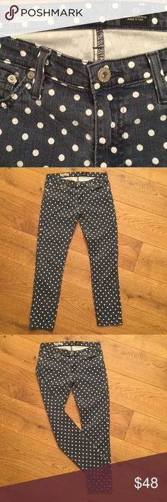 """🦋AG JEANS SZ 28 ANTHROPOLOGIE THE STEVIE ANKLE 🦋 Polka DOT AG JEANS. THE STEVIE ANKLE SLIM STRAIGHT LEG SZ 28 🌼inseam 29"""" rise 8"""" ankle 5.75"""". 55% cotton 42% tencel 3% polyurethane 🌼Great condition. Buy with confidence as all items lightly worn. NO TRADES - FAST SHIPPING SAME DAY IF ORDER BY 3 pm CST. LISTING DAILY! More Free People soon!! 🌈🦋🐞 Anthropologie Jeans Skinny"""