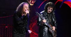 """Ronnie James Dio and """"The Riffmaster"""" Tony Iommi onstage."""