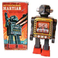 Horikawa Attacking Martian Robot Vintage Robots, Retro Robot, Vintage Box, Electric Sheep, Collectible Toys, Space Toys, Japanese Toys, Character Sketches, Tin Toys