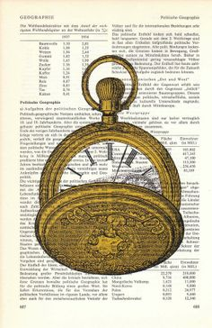 Upcycled Dictionary  Pocketwatch Clock print on Upcycled Book page Art Upcycled Art Print
