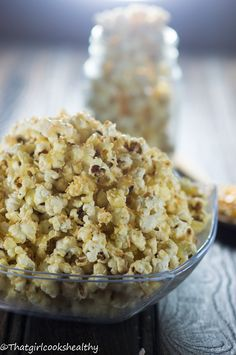 Toasted coconut popcorn - a classic coconut twist on a family favourite appetiser.