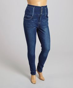 Look what I found on #zulily! Dark Indigo High-Waist Skinny Jeans - Plus #zulilyfinds