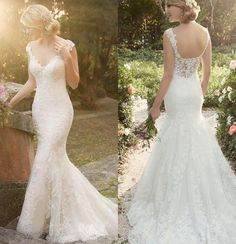 Graceful Mermaid Lace Wedding Dresses 2016 Vintage Beaded Lace Applique V Neck Backless Court Train Designer…