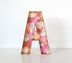 Felt Flower Letter  Peachy Keen  Pick any by SugarSnapBoutique
