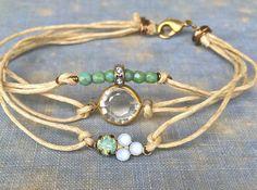 Bohemian wrap bracelet, string bracelet, stacking charm bracelet,pacific opal crystal bracelet. Tiedupmemories