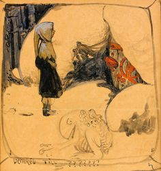 John Bauer - Boy in Front of the Door to the Troll's Cave