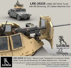 MCTAGS - Marine Corps Transparent Armored Gun Shield USMC Turret with Browning Caliber Machine Gun. Machine gun is included.