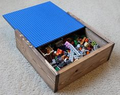 Items similar to Small Portable Lego Travel Toy Storage Box and Play Center shopsteam on Etsy Love Lego but Hate the Mess?Check out the Lego storage organizer - launching soon on Kickstarter Lego Storage Boxes, Lego Boxes, Kids Storage, Small Storage, Lego Table With Storage, Kids Toy Boxes, Kids Toys, Diy Toy Box, Diy Box
