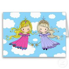 Twin Sisters Birthday Card Fairy Princess Cards For Twins Ideas