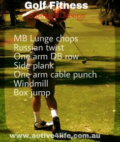 Golf specific exercises #golffitness #golf #fitness Box Jumps, Golf Exercises, Russian Twist, Best Games, Lunges, Health Fitness, Baseball Cards, Awesome, Sports