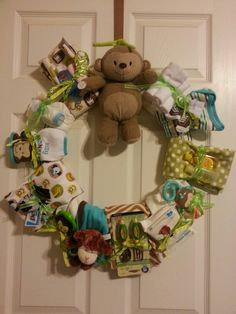 Jungle Theme baby wreath I made for friend's baby shower.