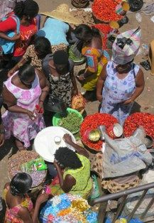 A market scene from above in Accra, Ghana
