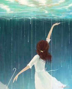 Rain under Water Girl In Rain, Cute Girl Wallpaper, Aztec Wallpaper, Glitter Wallpaper, Pink Wallpaper, Screen Wallpaper, Rain Painting, Rain Art, Parasols