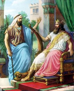 Nathan speaking to David about the prophecy of the House of David. (2Samuel 7:1-17)